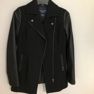American Eagle Coat With Faux Leather Sleeves